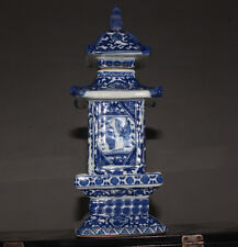 delicate Chinese Jingdezhen ancient pagoda blue and white porcelain vase AQ01