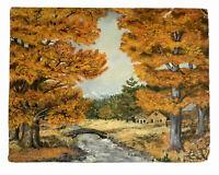 Autumn Landscape Vintage Painting on Canvas Board 16 X 20 Trees Farm Stream