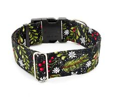 Snowflakes & Holly Dog Collar Buckle & Martingale Holiday Christmas Winter