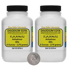 Disodium EDTA [C10H14N2Na2O8] 99% ACS Grade Powder 12 Oz in Two Bottles USA
