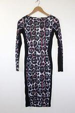 River Island leopard print slimming stretch bodycon pencil dress animal size 8