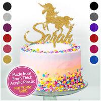 GLITTER Personalised UNICORN Cake Topper Custom Happy Birthday Kids Topper Girls