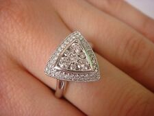 TRIANGLE COCKTAIL RING WITH 0.75 CT T.W. DIAMONDS 14K WHITE GOLD 5.2 GRAMS