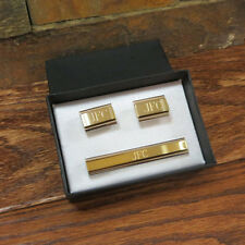 Personalized Cuff Links With Tie Clip- Groomsmen Gift- Tipo's Creations (cut-21)