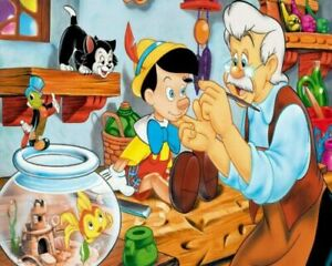 Pinocchio And Geppetto Cartoon Painting Paint By Numbers Kit DIY