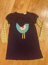 mini boden 5-6y girls bird dress stripe double sleeves 5 6