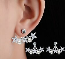 Sterling Silver Rose Gold Front Back 2 in 1 Cubic Zirconia Stud Earrings Gift S6