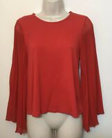 W5 Anthropologie Small Shirt Red Long Sheer Pleated Bell Sleeve Boho Blouse