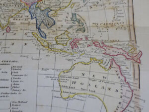 1817 Antique COLOR Map by Cooke///THE WORLD, IN TWO HEMISPHERES