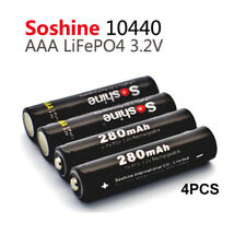 4x Soshine AAA LiFePO4 10440 280mAh 3.2V Rechargeable Battery with Holder Cover