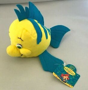 Applause Disney Little Mermaid Movie Yellow Blue Flounder Stuffed BeanBag Plush