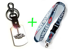 2 in 1 Combo CHEVROLET CHEVY Gray Lanyard and Stainless Steel Key Chain