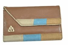 Matix BRINCE Brown Blue Tan Snap Closure Checkbook Envelope Discount Wallet