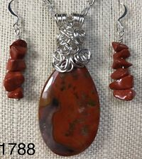 Silver Wire Wrapped Warring States Red Agate Stone Pendant Set OOAK (1788)