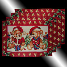 SET OF 4 CHIC LOVELY RED CHRISTMAS TEDDY BEARS TAPESTRY TABLE LINEN PLACEMATS