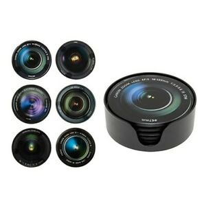 Camera Lens Round Glass Coasters  Set of 6 in Holder