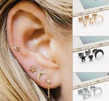 3PC/Set Lovely Punk Tiny Ear Stud Earrings Set Moon Star Heart Jewelry