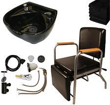 Black Ceramic Shampoo Bowl Sink Shampoo Chair Leg Rest Barber Salon Equipment