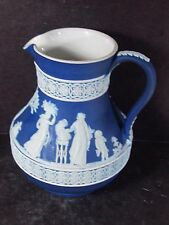 Wedgwood Royal or Midnight Blue Pitcher Various Greek Figure All Around 5 1/2""