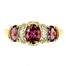 Sterling Silver 925 Gold Plated Rhodolite  & White Topaz Ring Size T1/2 US 10