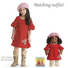 American Girl CL BITTY TWIN SET FALL FLOWERS DRESS W/ HAT LARGE 6 Girl & Doll