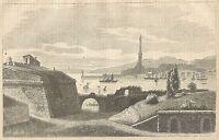 A3904 Porto e Faro di Genova - Incisione - Stampa Antica del 1889