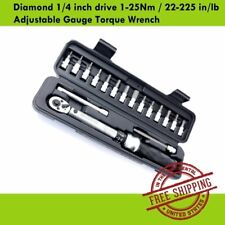 "DLC Torque Wrench Diamond 1/4"" inch drive 1-25Nm 22-225 in/lb - Adjustable Gauge"