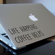 "COFFEE HELPS Apple MacBook Decal Sticker fits 11"" 12"" 13"" 15"" and 17"" models"