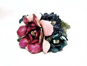 Adjustable Genuine Leather Flower Buquet  Bracelet-Vintage Faceted Crystal-