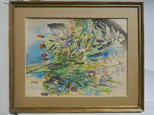 Rudolf KUNDERA 1911-2005 Tchèque NATURE-MORTE FLEURS Tableau Peinture Aquarelle