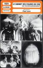 LE CABINET DES FIGURES DE CIRE - Jannings,Veidt (Fiche Cinéma) 1924 - Waxworks