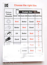 Kodak 35mm Gold Film Choose the Right Film 10 Tips Card AF-22 1998 - VINTAGE B9