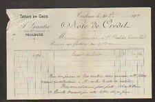 """TOULOUSE (31) TISSUS en gros """"J. GAUTIE"""" en 1909"""