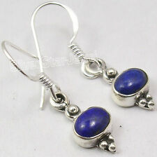 925 Sterling Silver NATURAL LAPIS MODERN HOT Earrings 2.9 CM LADIES' JEWELRY NEW