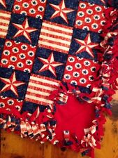 Handmade Fleece Tie-Blanket Vintage Stars Stripes Veteran American Flag 58X72