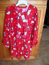 Red w Polar Bears Soft Fuzzy Christmas Holiday Hooded Short Nightie SZ XL Gown