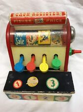 Vintage Fisher Price Wooden Cash Register Non-working No Coins #972