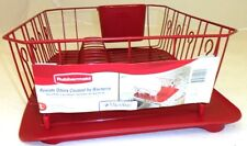 RUBBERMAID LARGE DISH DRAINER 6032-AR & DRAIN BOARD 1182-MA RED NEW