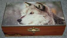 #4405 WINTER WOLF KEEPSAKE, JEWELRY, DECOR WOOD CEDAR BOX WITH LOCK