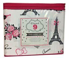 PARIS Eiffel Tower White Black TWIN 3 Pc Sheet Set Bedding Girls