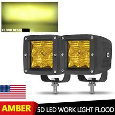 2X Amber LED Work Light Bar 3in Flood Pods Offroad UTV SUV Truck Fog Driving US