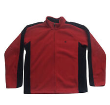 Mens Brooks Brothers 346 Fleece Jacket Coat Full Zip Polyester Red Blue Size XL