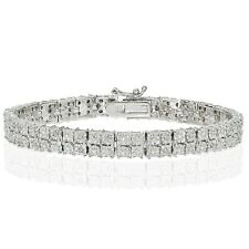 .25ct Natural Diamond Miracle Set 2-Row Bracelet, Gold Rose Silver Plated Brass