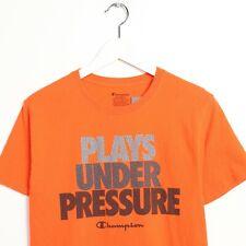 Vintage CHAMPION Graphic Print T Shirt Tee Orange Small S