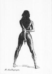 original drawing A4 73BV art samovar ink female nude Signed 2021