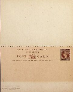 GIBRALTAR 15c QUEEN VICTORIA UNUSED POSTAL STATIONERY REPLY CARD