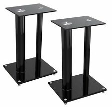 2/Two Black Glass Floor Speaker Stands for 22 lbs Bookshelf Subwoofer Home Audio