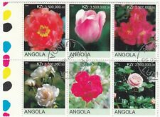 Angola; 2000 Flowers Block Of 6 x 3.5 Million CTO, With Selvedge, Roses, Tulips