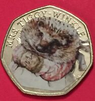 2016 Mrs Tiggy Winkle From Sealed Bag UNC Coloured Decal Beatrix Potter 50p Coin