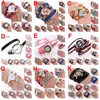 Fashion Women Bracelet Watch LOVE PU Leather Quartz Bangle Wrist XMAS Gift